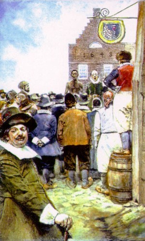 The first slave auction in New Amsterdam in 1655. By Howard Pyle 1917